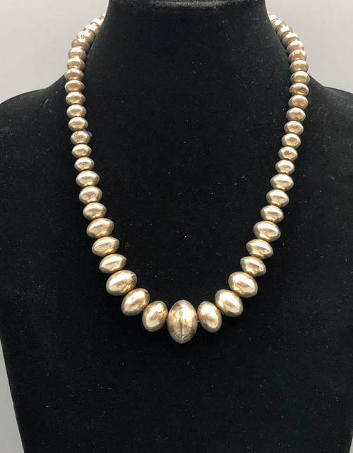 Classic Smooth Sterling Silver Navajo Pearl Necklace