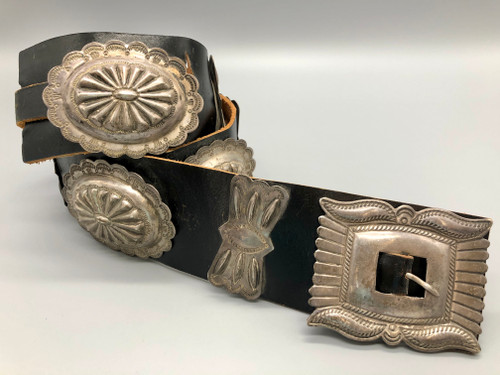 Beautiful Hand Stamped Sterling Silver Concho Belt on Good Ole' Wide Leather