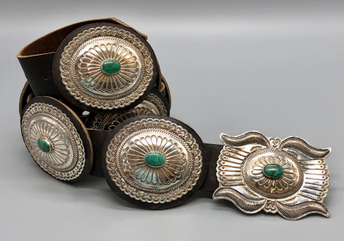 Absolutely Beautiful Contemporary Sterling Silver and Turquoise Concho Belt