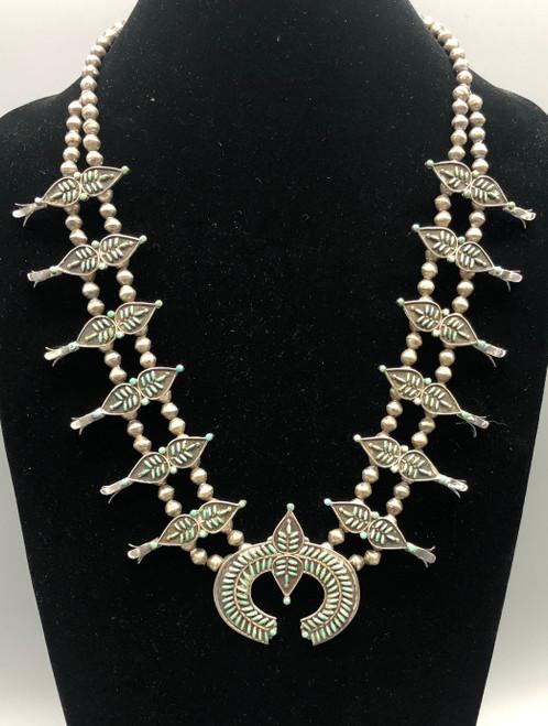 Exquisite Needle Point Turquoise Squash Blossom Necklace