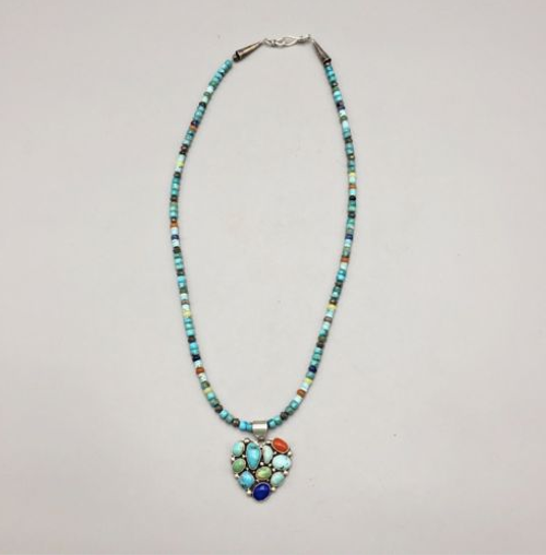 STERLING, TURQUOISE, MULTI-STONE HEART NECKLACE BY *ELLE CURLEY-JACKSON* NAVAJO