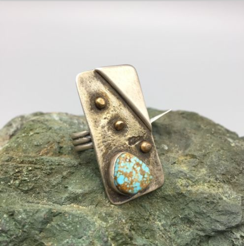 Ring, #8 Turquoise, sterling silver, 14K gold, signed, hallmarked,  Navajo