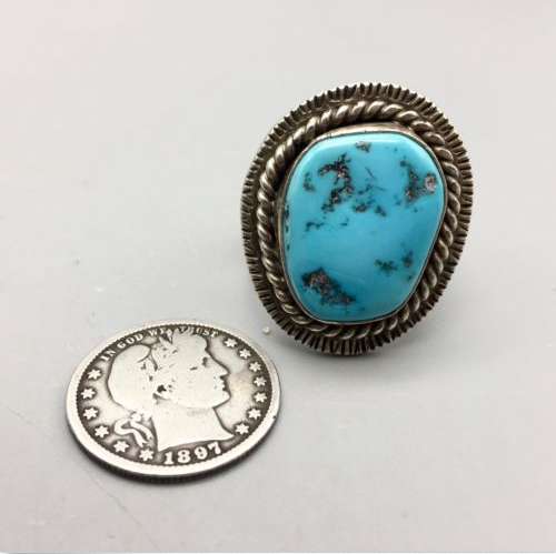 ring, Tommy Jackson, Kingman turquoise, sterling silver, new, Navajo, Native American