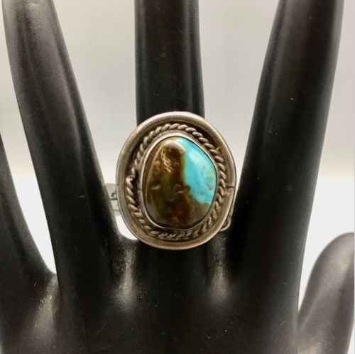ring, vintage, Bisbee turquoise, sterling silver, Native