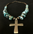 Carlin turquoise and sterling silver cross necklace and earrings