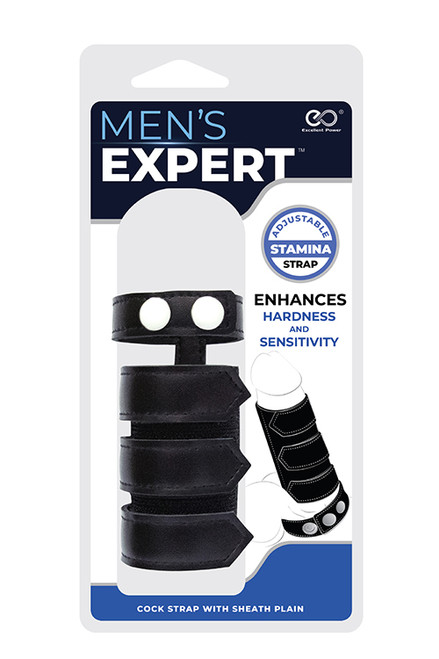 MENS EXPERT COCK STRAP W SHEATH PLAIN