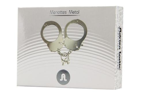 shiny, metal handcuffs.