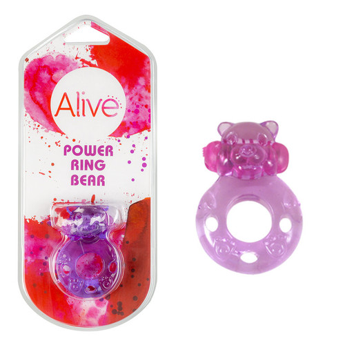 VIBRATING COCK RING POWER RING BEAR PURPLE 4,4 CM
