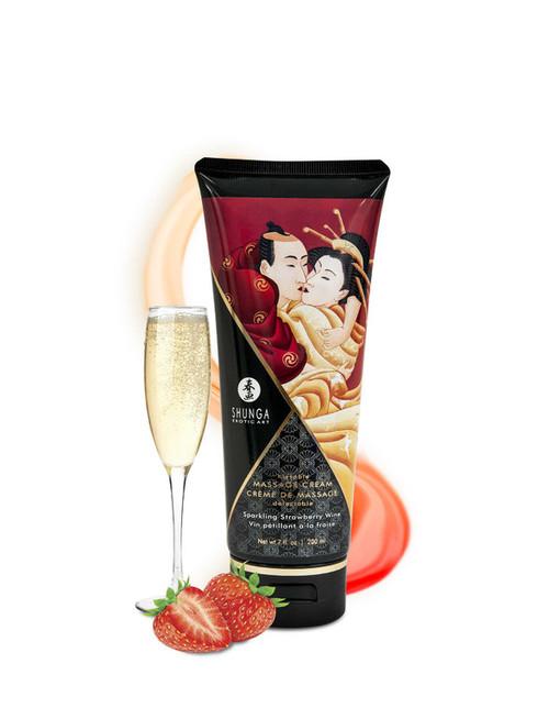 Shunga Massage Cream Strawberry Wine Flavor 200ml