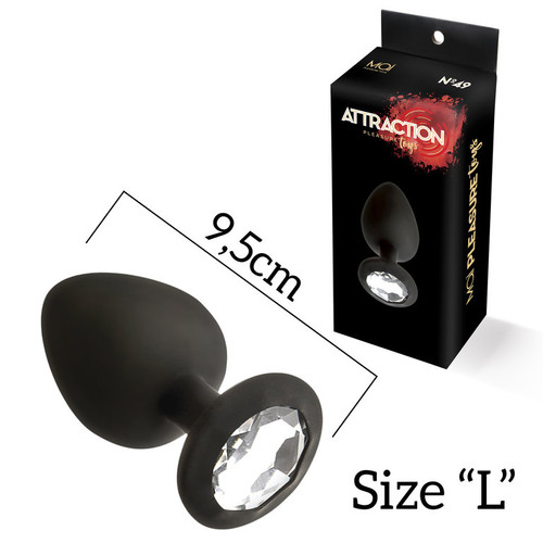 SILICONE ANALPLUG WITH STONE L MAI Nº49 BLACK