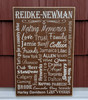 Custom personalized family memories sign