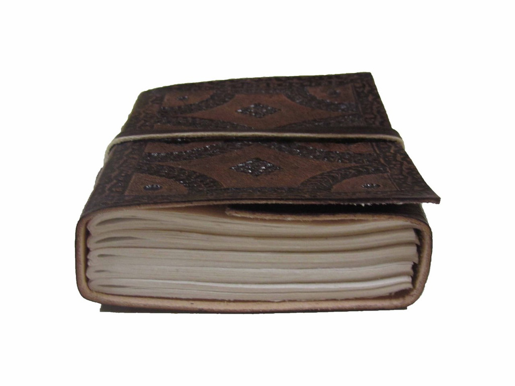 Heartwood small tooled leather journal - eye level view