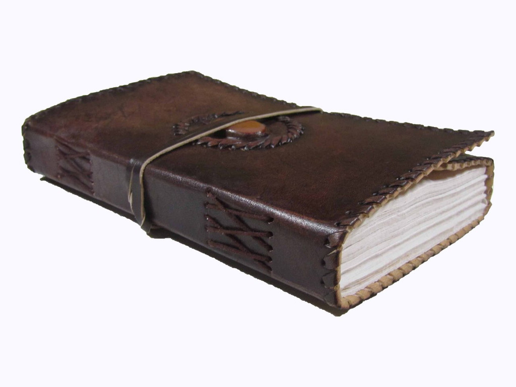 Leather Journal - Medium with Orange Marbled Stone - side view