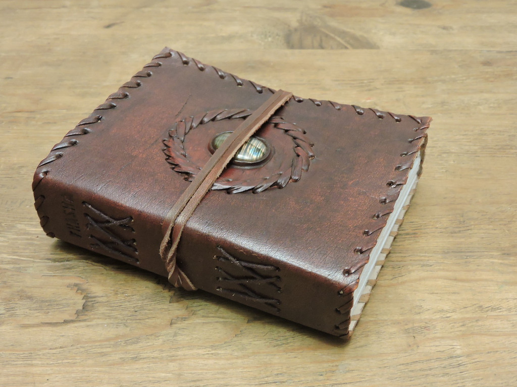old world leather journal - small - side view