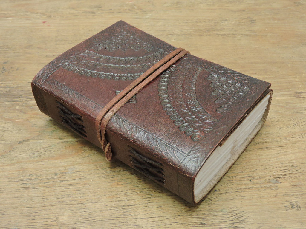 xtra small hand made leather journal with side paper binding
