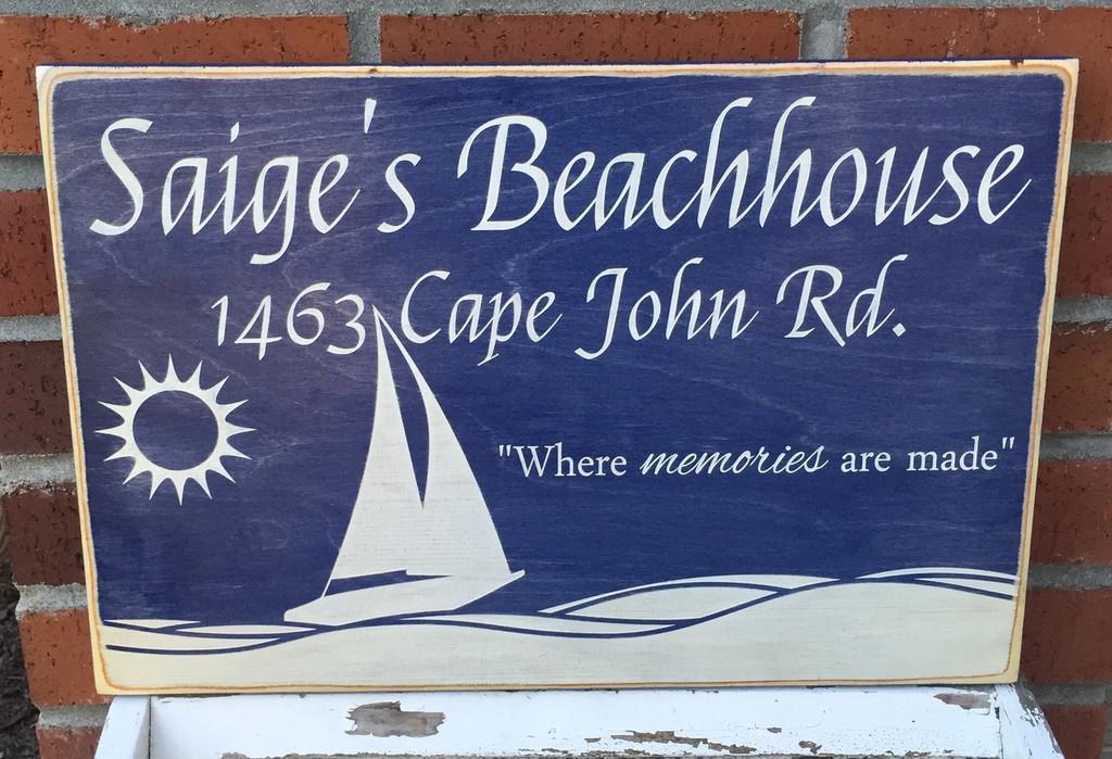 Shabby Chic Beachhouse Sign - Custom Made
