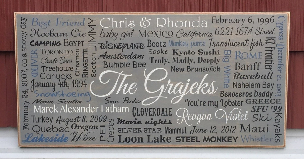 "custom family memories sign 12"" x 24"""