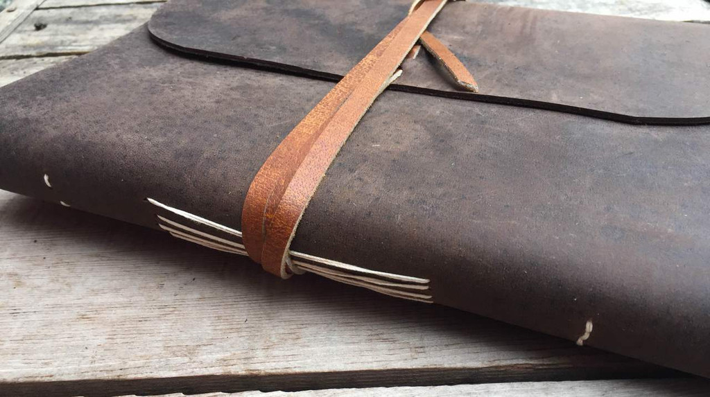 Buffalo Leather Journal with Himalayan Lokta Paper - side view with side stitching