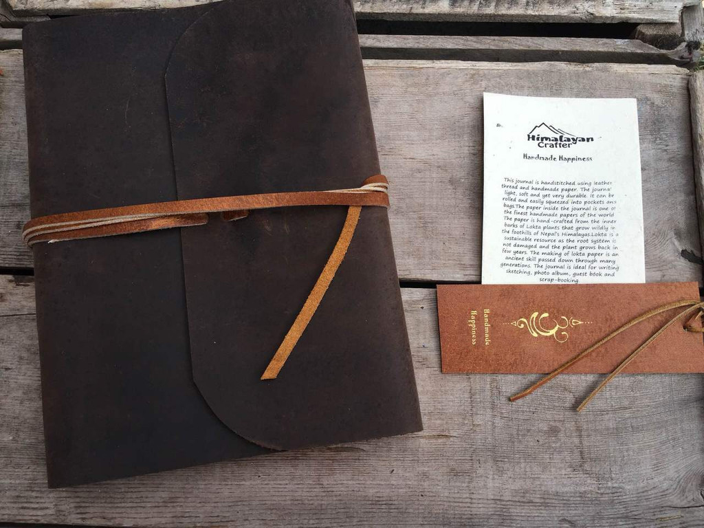 buffalo hide journal with artisan card and book mark
