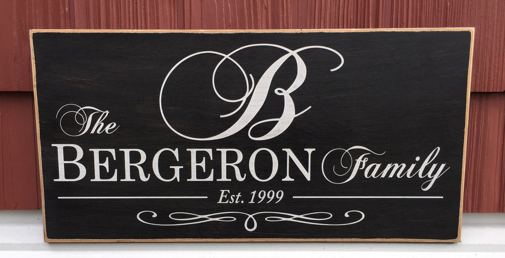 Monogram Family Sign with Establishment