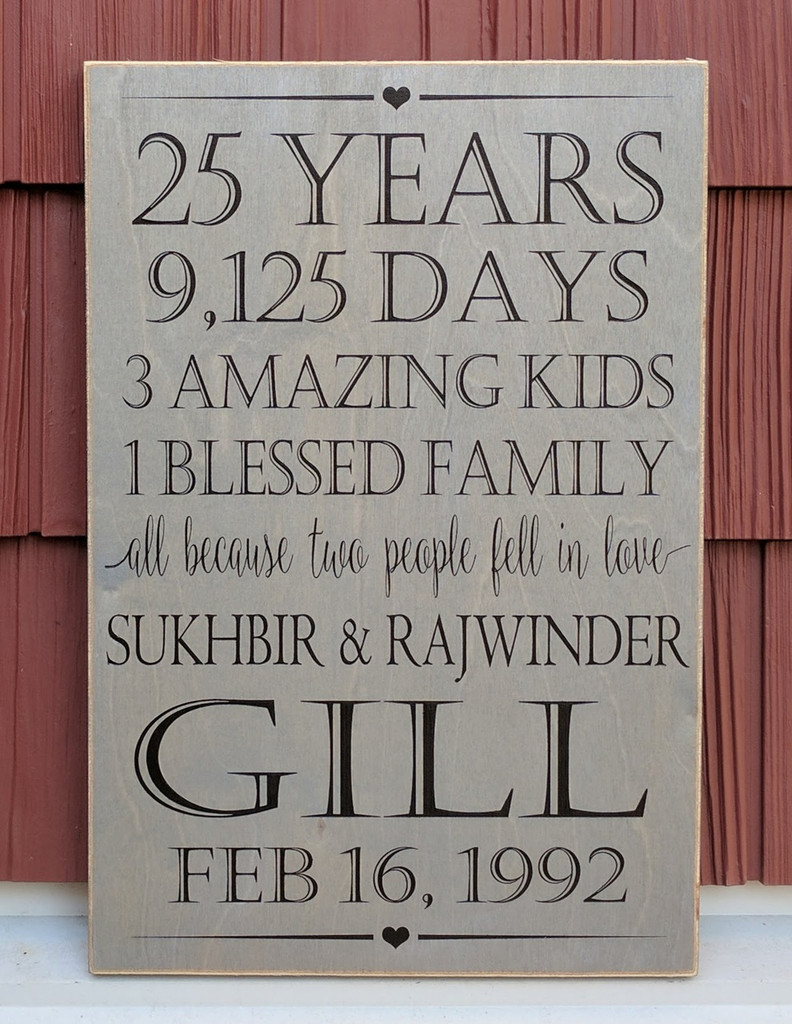 25 Year Anniversary Family Sign