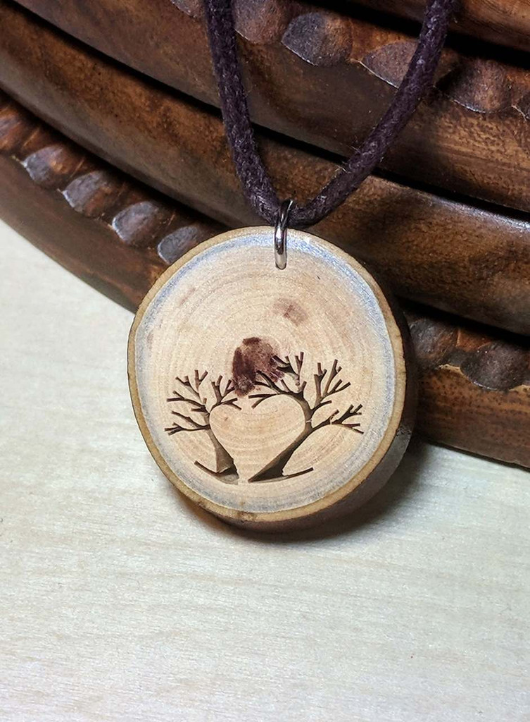 Rustic Wood Pendant - Heart Shaped Arbutus Tree.