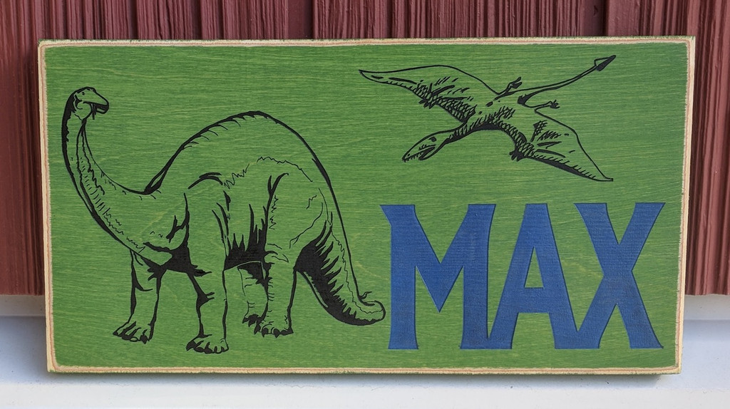 Personalized Kids Dinosaur Wood Sign