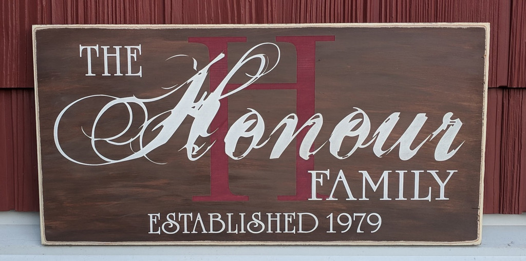 Farmhouse family name sign