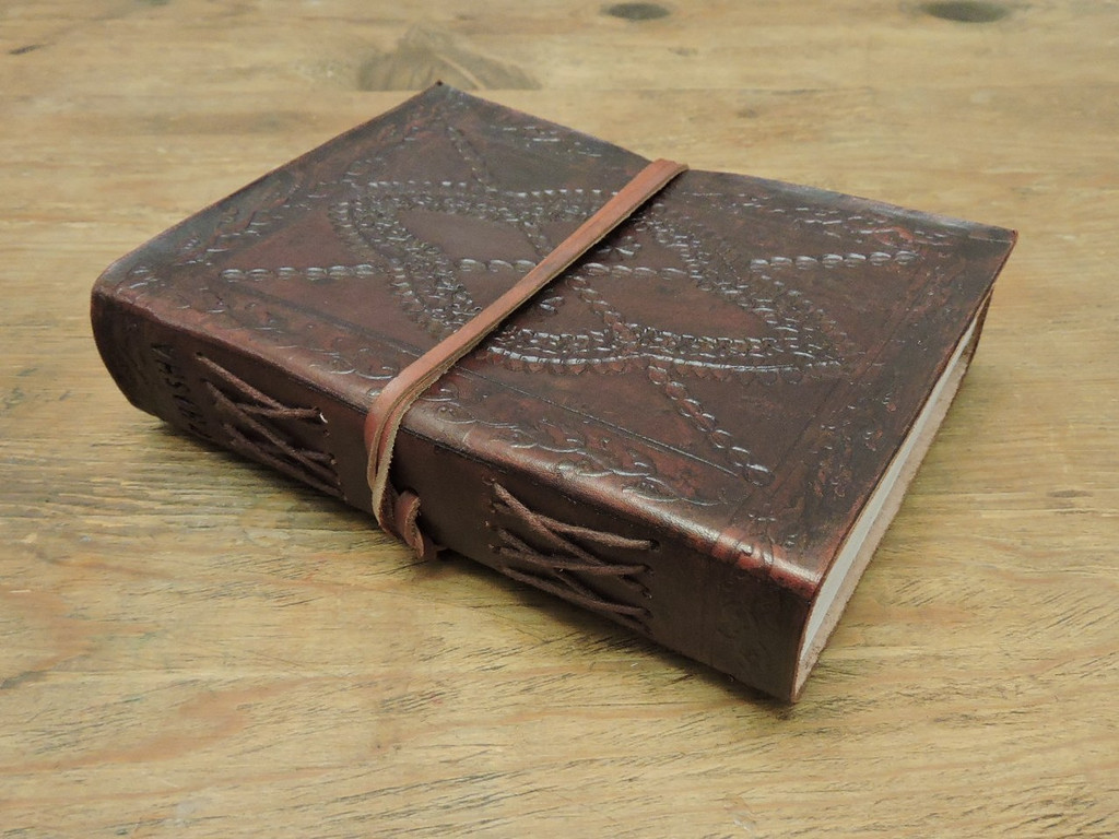 Phasha Leather Journal Small with LINED PAPER - side view