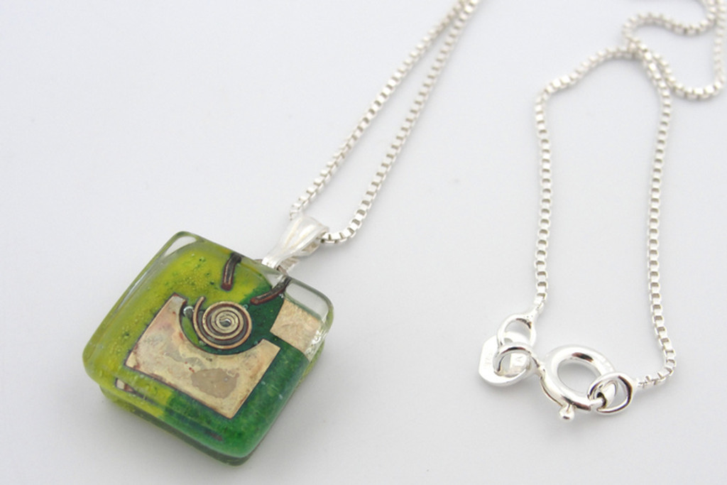 green snail charm pendant with chain