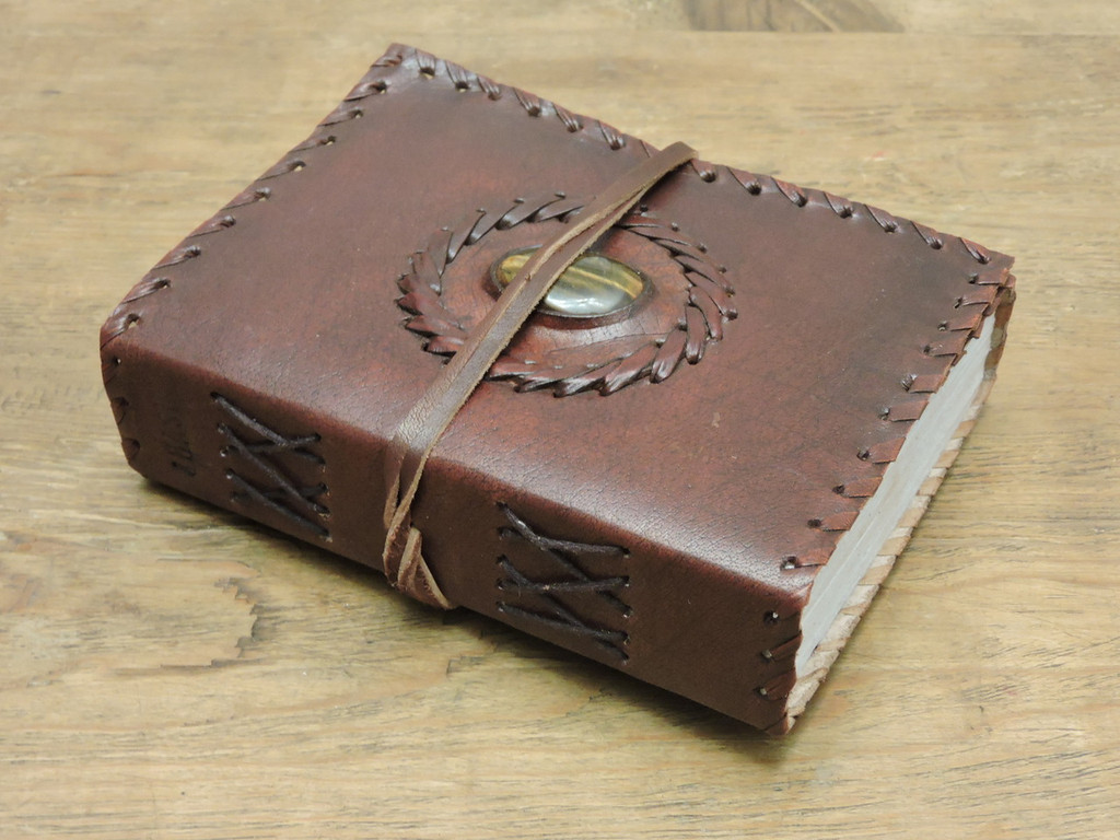 """Leather Journal Small 6"""" x 4.5"""" side profile"""