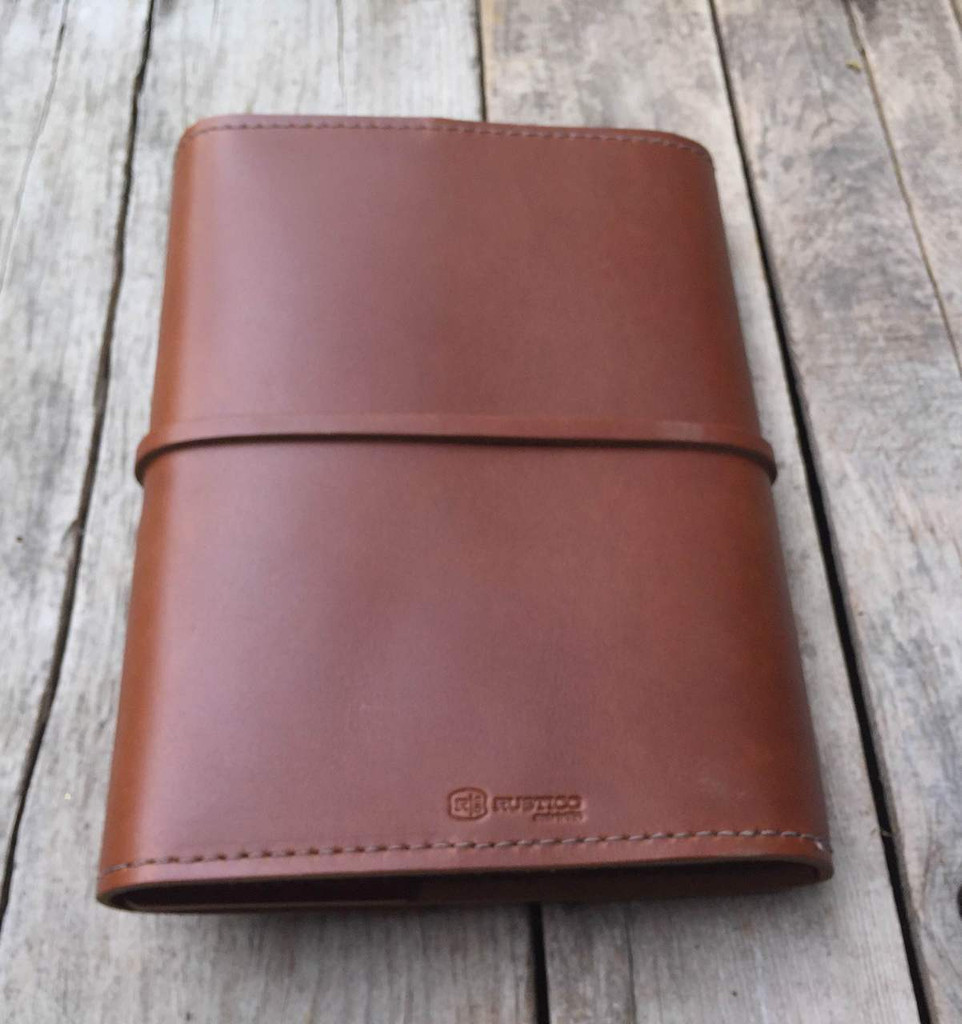 leather notebook journal with lined paper - refillable