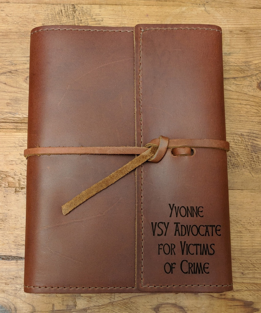 Custom personalized leather journal with Celtic Hand font