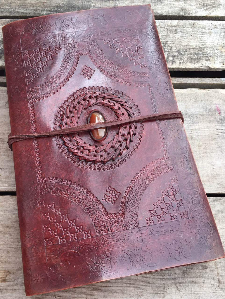 large leather old world journal