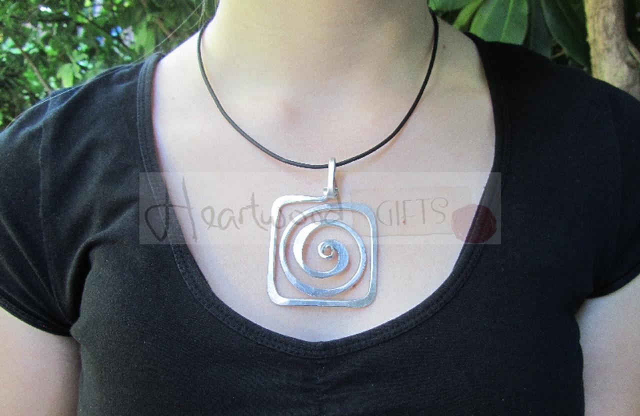 aluminum spiral square pendant