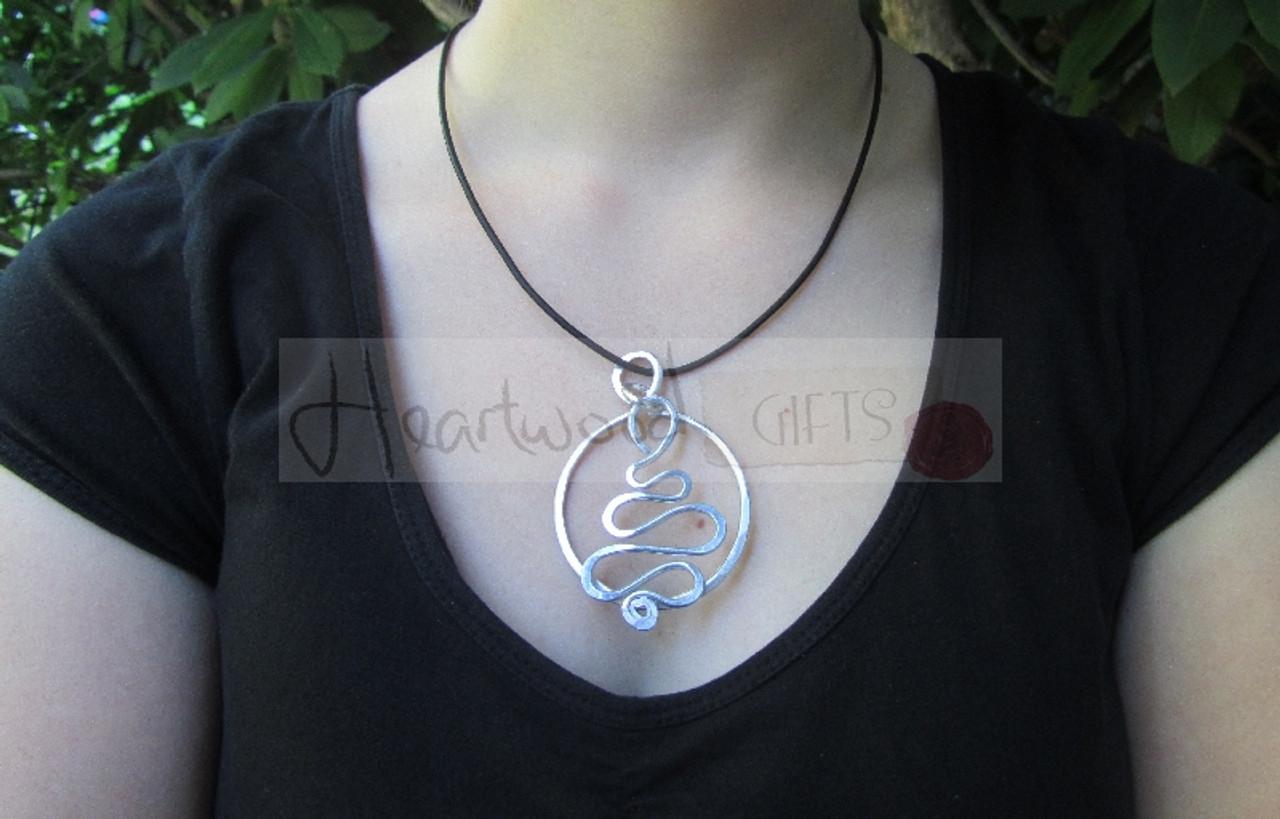 aluminum circle squiggle pendant