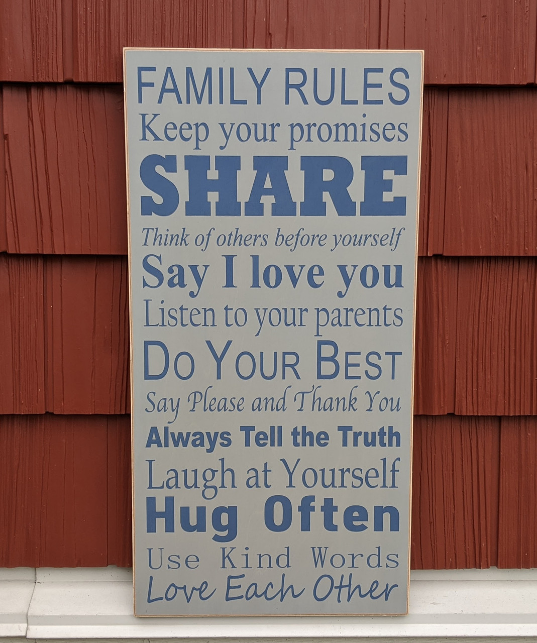 """Family Rules 12"""" x 24"""" sign"""
