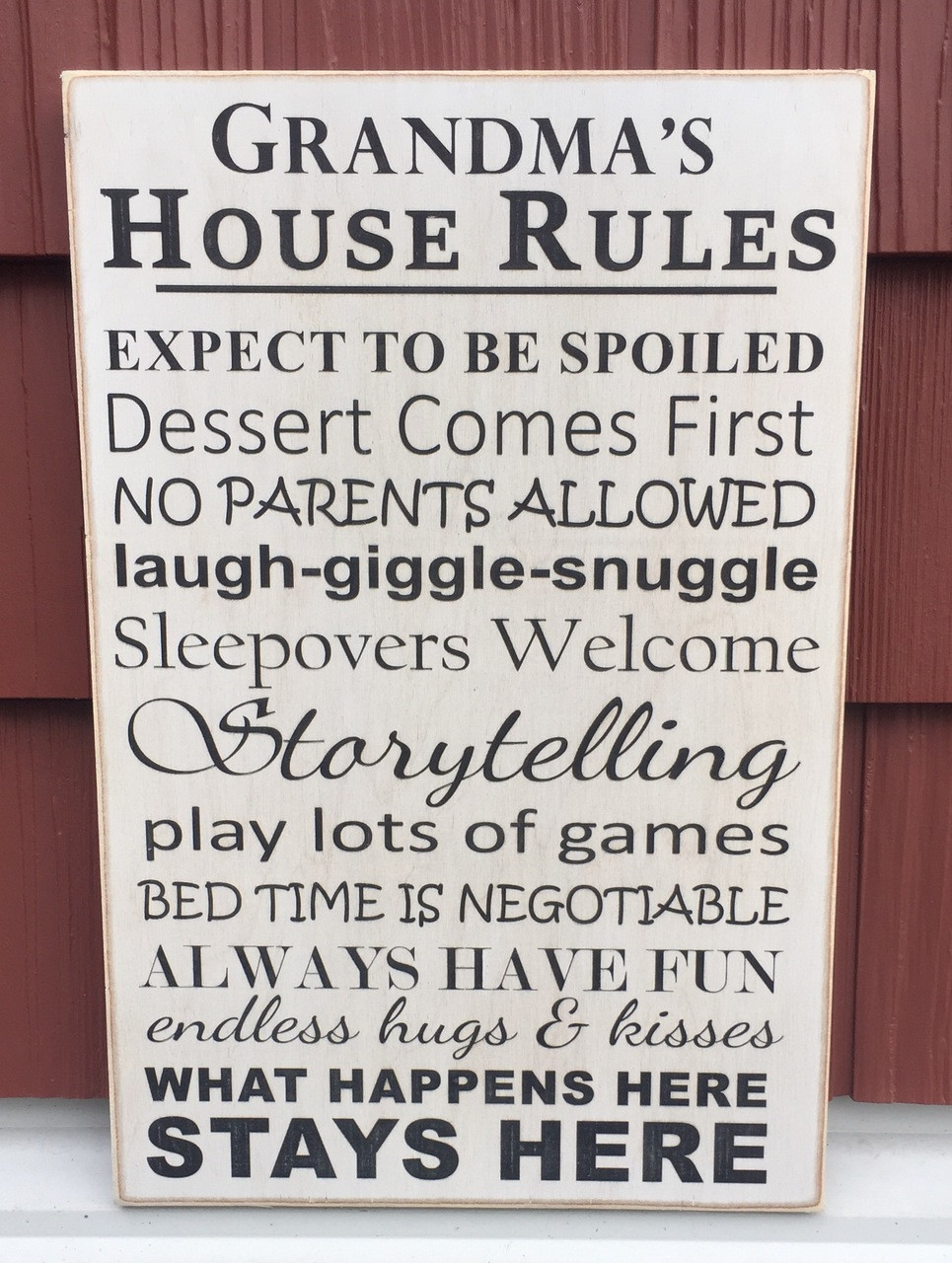 Grandma's House Rules wood sign