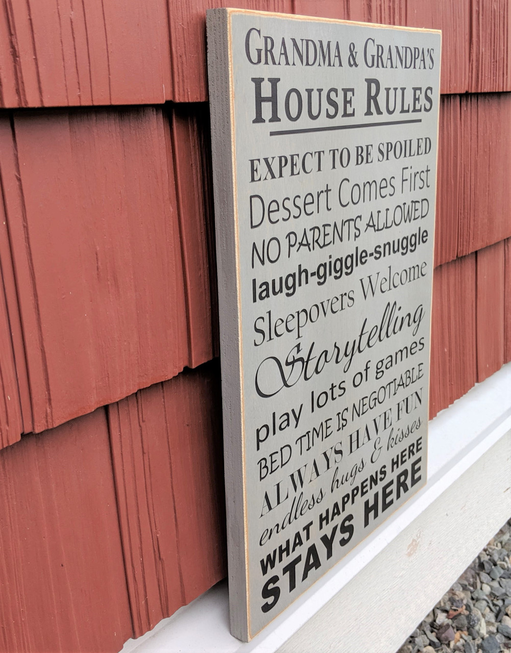 Grandpa & Grandma's House Rules Sign - Side View