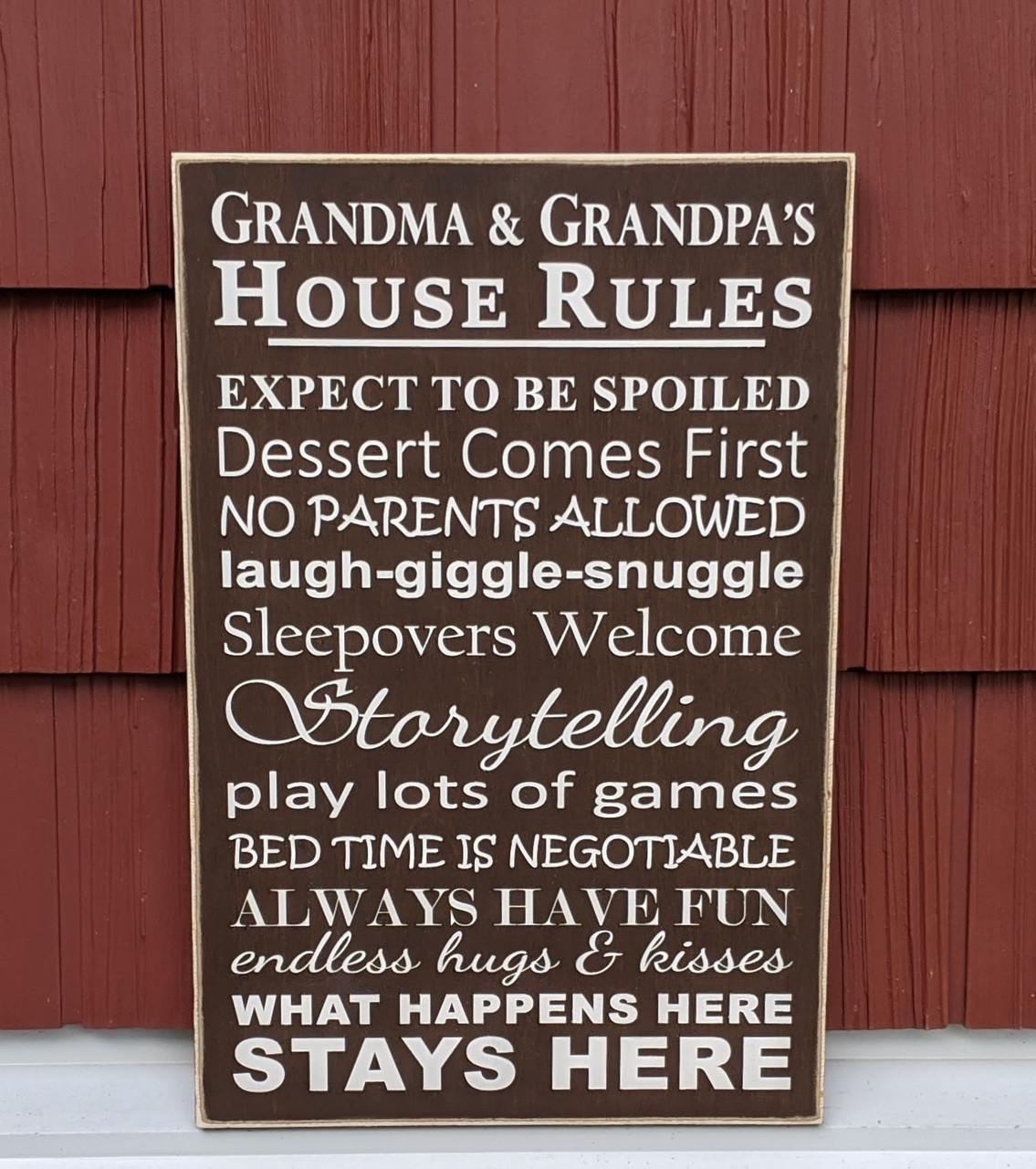 House Rules Sign for Grandma and Grandpa