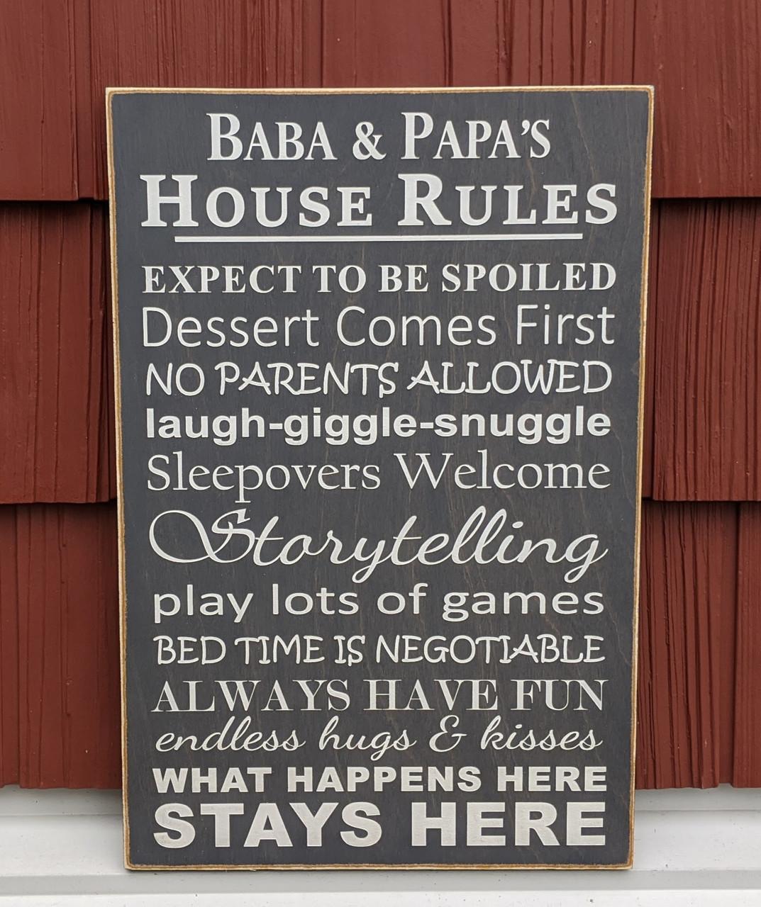 """Grandma & Grandpa's House Rules Sign 12"""" x 18"""""""