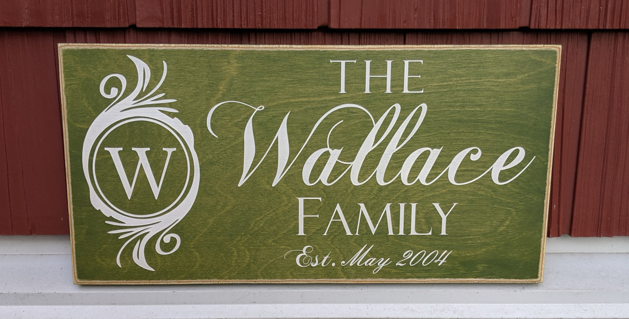 Family name sign with monogram