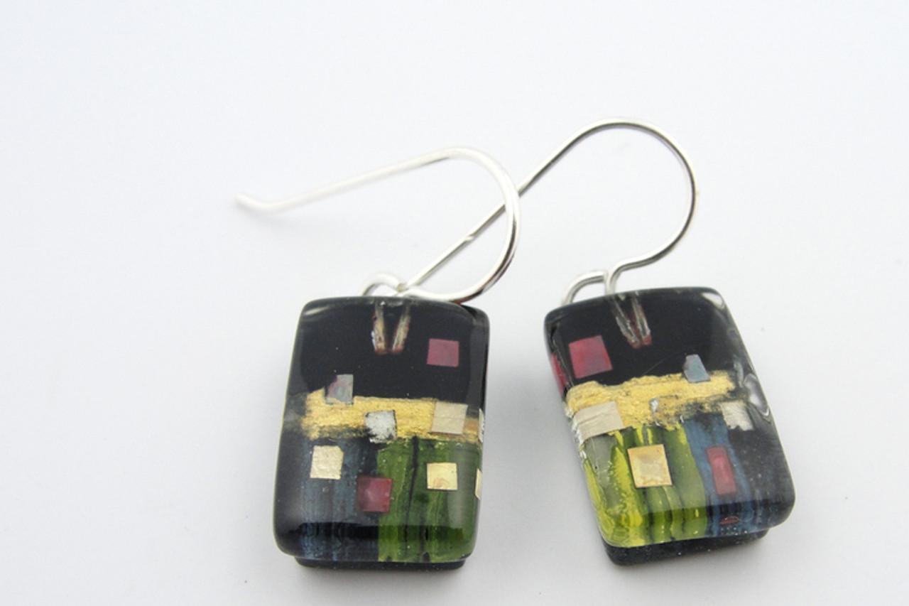 Momo Glassworks Black Golden Phase Earrings