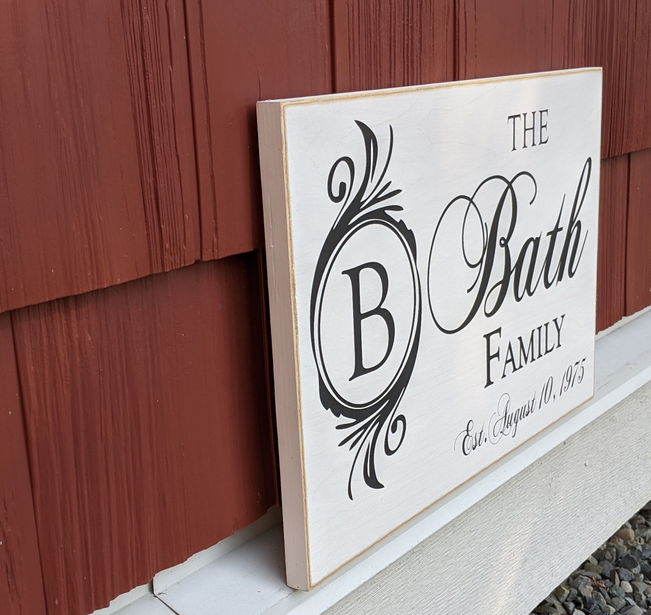 Custom Family Name Sign with Monogram 12x18 - Side View