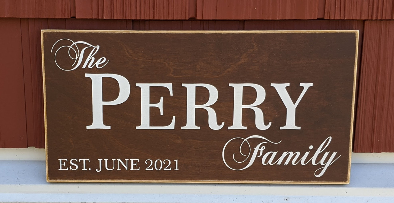 Family Name Wood Sign with Established Year