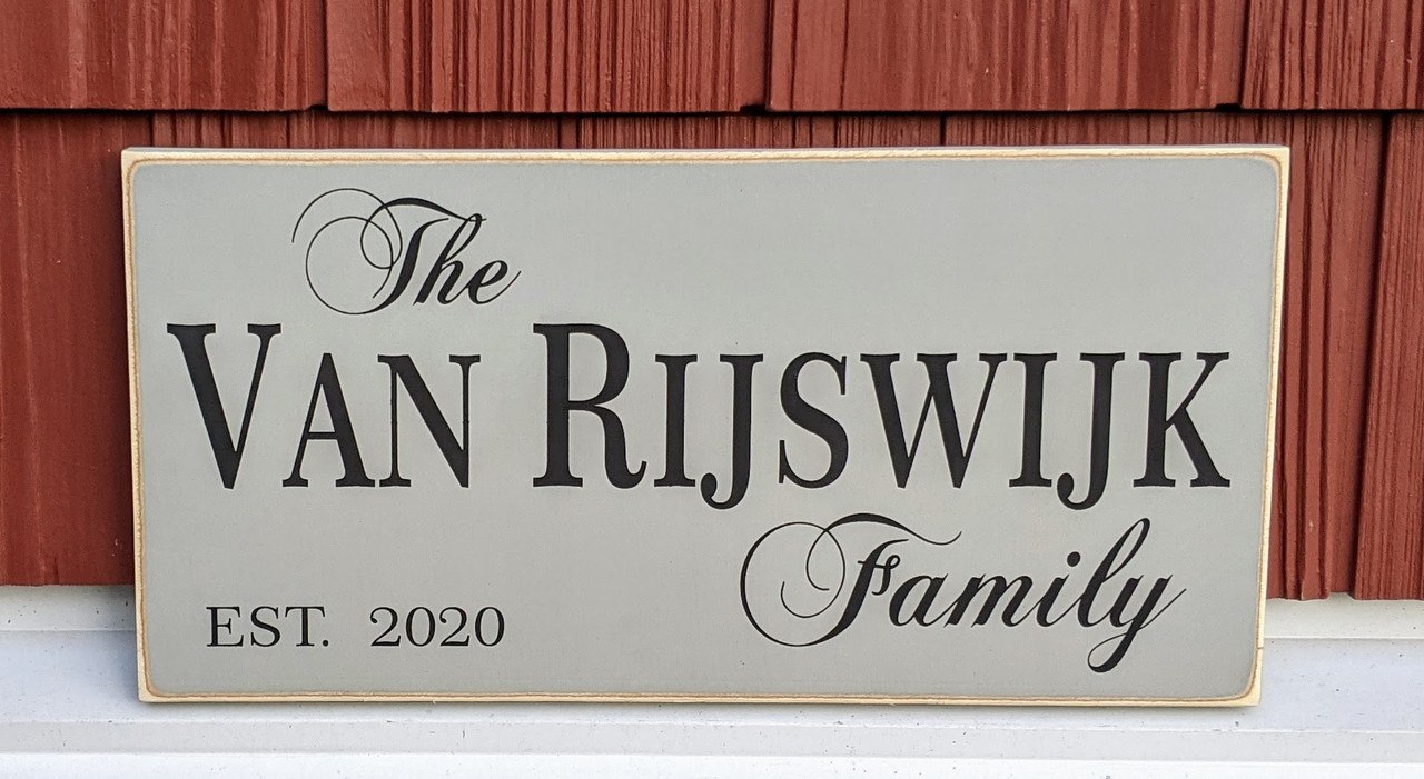 Personalized Family Name Wood Sign with Established Year