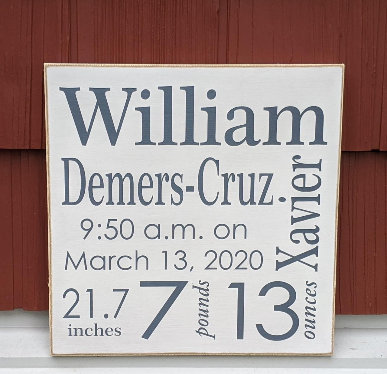 "Baby Name and Bith Stats Sign 12"" x 12"""