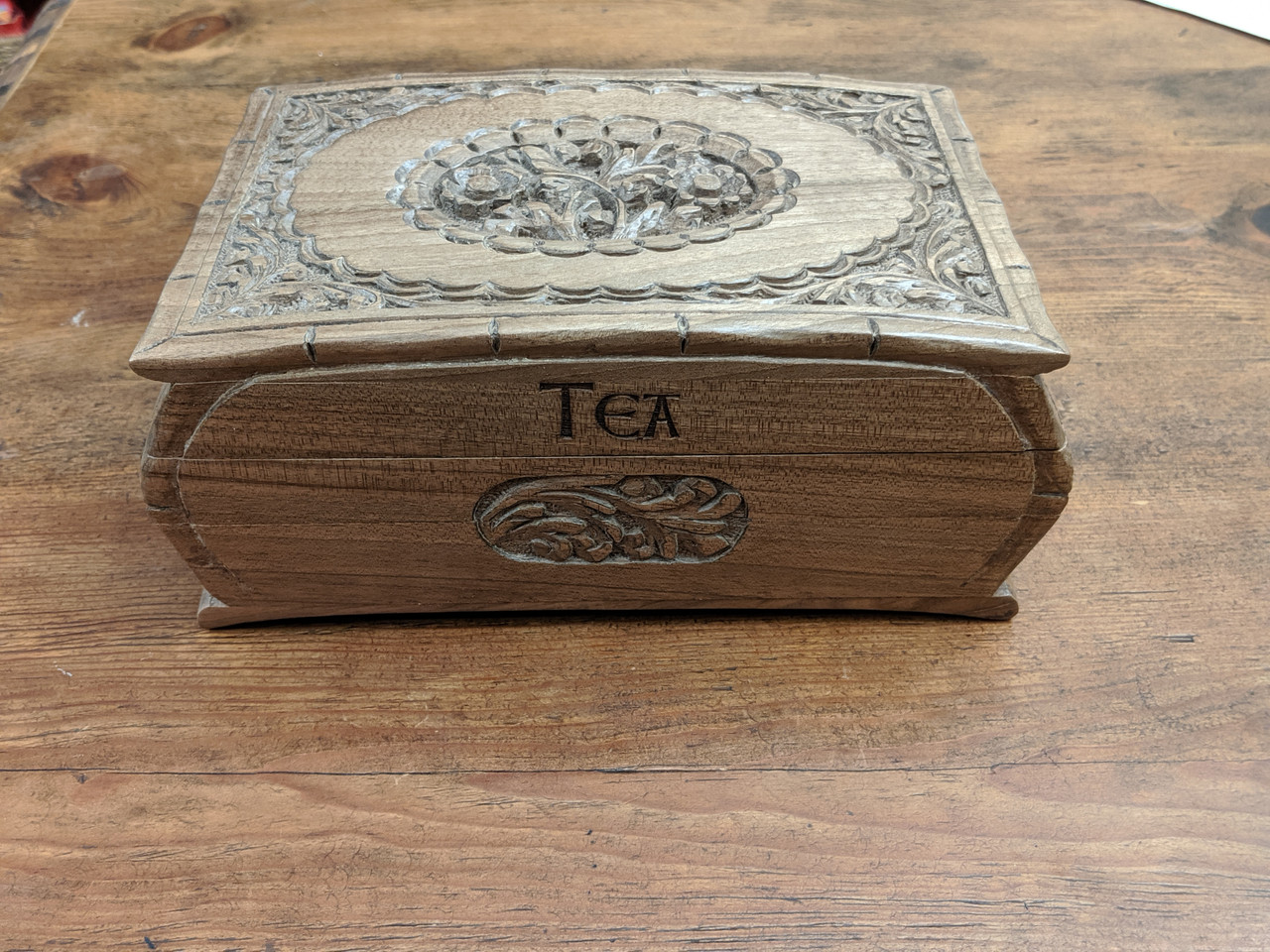 Engraving Example on Rustic Jewelry Box