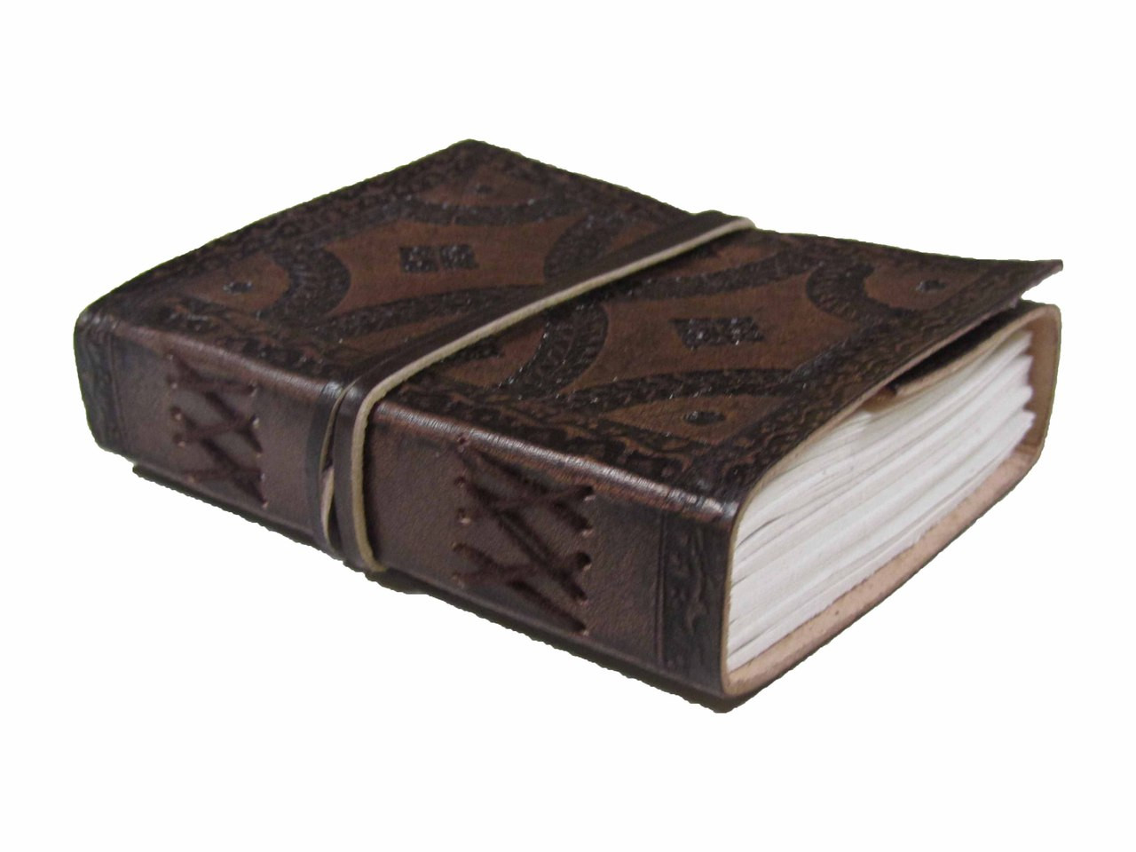 Heartwood small tooled leather journal - side view