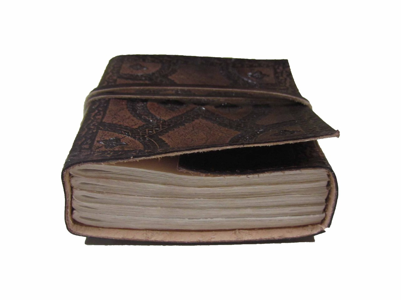embossed leather journal - small - eye level view